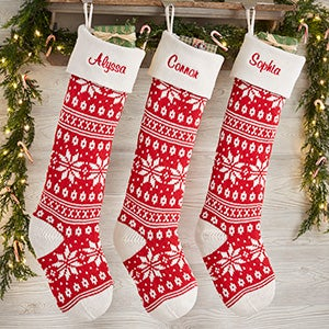 Holiday Sweater Personalized Jumbo Knit Christmas Stockings - Red & Ivory - 19001-S