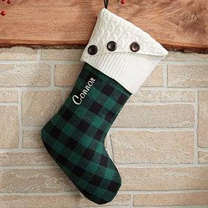 Custom Green Buffalo Check Christmas Stockings - 19002-G