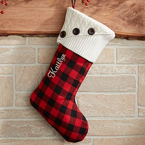 Custom Red Buffalo Check Christmas Stockings - 19002-R