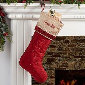 Jeweled Holiday Personalized Burgundy Christmas Stocking - 19006
