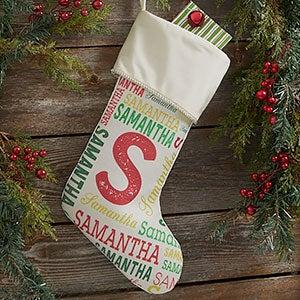 Name & Monogram Ivory Christmas Stocking - 19353-I