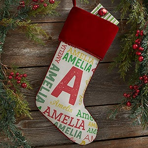 Name & Monogram Burgundy Christmas Stocking - 19353