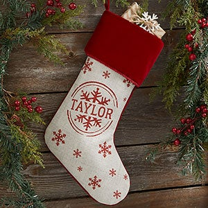 Stamped Snowflake Personalized Burgundy Christmas Stocking