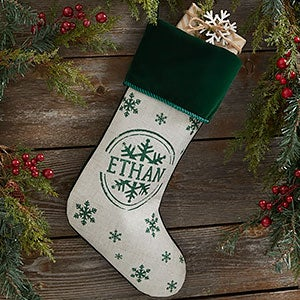 f2b1a200c Stamped Snowflake Personalized Green Christmas Stocking