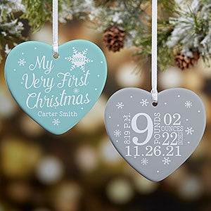 Custom Photo Baby/'s First Christmas Ornament with Birth Announcement MBO0014 Baby/'s 1st Christmas Ornament