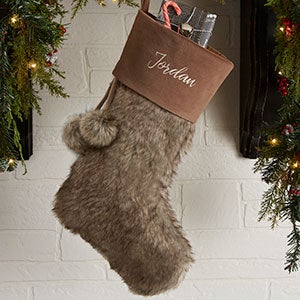 Embroidered Brown Faux Fur Christmas Stocking - 20986-B