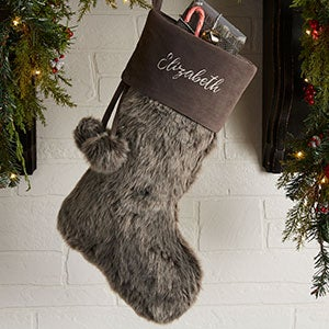Embroidered Grey Faux Fur Christmas Stocking - 20986-G