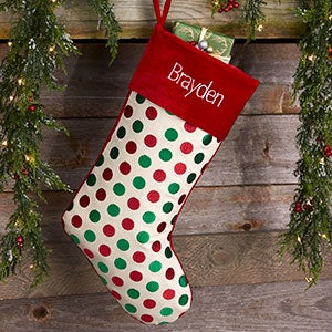 Red & Green Polka Dot Personalized Christmas Stockings - 20987-P