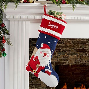 422bd3b14 Joyful Santa Personalized Christmas Crewel Stocking