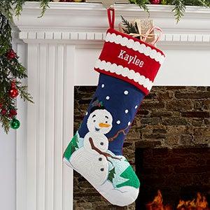 Joyful Snowman Personalized Christmas Stocking - 20990-S