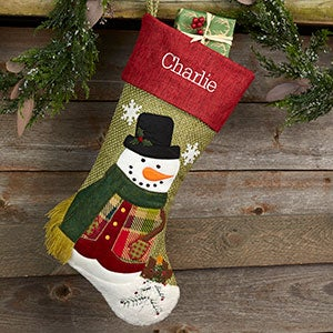 Rustic Boy Snowman Personalized Christmas Stocking - 20992