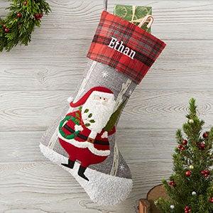 Santa Personalized Plaid Christmas Stocking - 20996