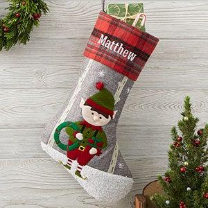 Elf Personalized Plaid Christmas Stocking - 20996-E