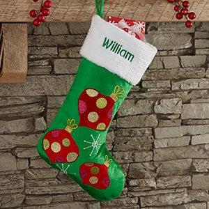 Festive Ornament Personalized Christmas Stocking - 21005-O