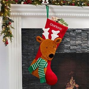 North Pole Reindeer Personalized Jumbo Christmas Stocking - 21009-R