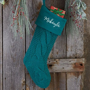 Teal Cozy Cable Knit Personalized Christmas Stocking - 21010-T