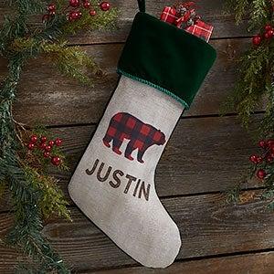 Cozy Cabin Buffalo Check Personalized Green Christmas Stockings - 21844-G