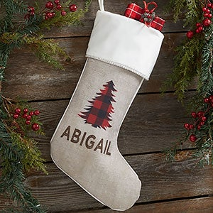 Cozy Cabin Buffalo Check Personalized Ivory Christmas Stockings - 21844-I