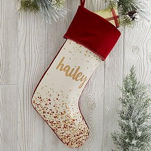 Sparkling Name Personalized Burgundy Christmas Stocking - 21872