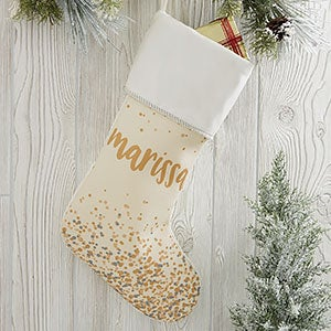 Sparkling Name Personalized Ivory Christmas Stocking - 21872-I