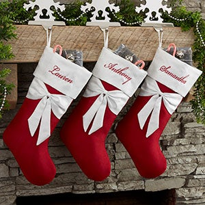 805256fc37c Lustrous Bow Personalized Christmas Stocking