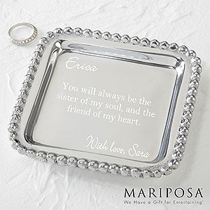 MariposaR String Of Pearls Personalized Square Jewelry Tray