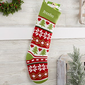 Holiday Icon Personalized Knit Christmas Stockings with Green Cuff - 24258-G