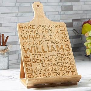 Support pour livre de cuisine et tablette en bambou personnalisé Kitchen Talk - 24283