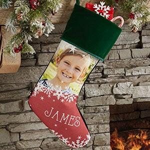 Snowflake Personalized Green Christmas Photo Stocking - 24586-G