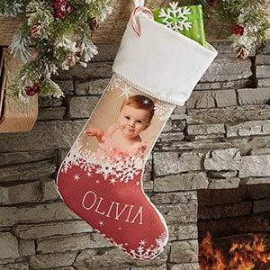 Snowflake Personalized Ivory Christmas Photo Stocking - 24586-I