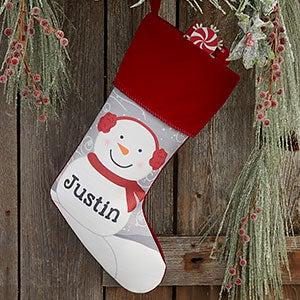 Snowman Family Personalized Burgundy Christmas Stocking - 24594-B