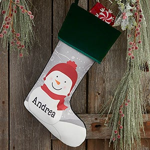 Snowman Family Personalized Green Christmas Stocking - 24594-G