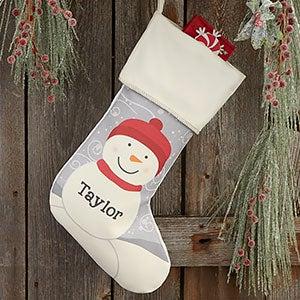 Snowman Family Personalized Ivory Christmas Stocking - 24594-I