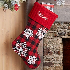 Buffalo Check Snowflake Personalized Red Christmas Stocking - 24602-R
