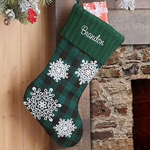 Buffalo Check Snowflake Personalized Green Christmas Stocking - 24602-G