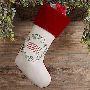Christmas Wreath Personalized Burgundy Christmas Stocking - 24823-B