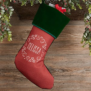 Christmas Wreath Personalized Green Christmas Stocking - 24823-G