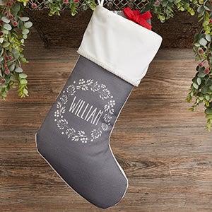 Christmas Wreath Personalized Ivory Christmas Stocking - 24823-I