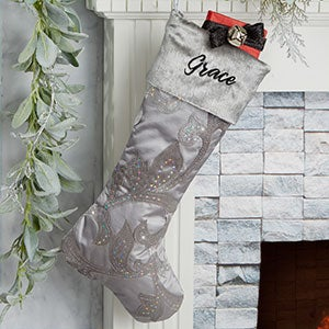 Damask Patterned Personalized Silver Christmas Stocking - 25049-S