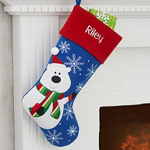Polar Bear Winter Fun Personalized LED Light Up Christmas Stocking - 25050-PB