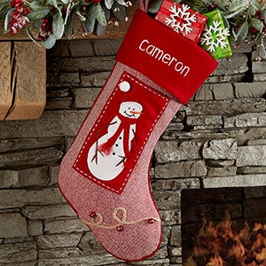Snowman Cottage Christmas Personalized Christmas Stocking - 25213-SM
