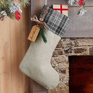 Grey Plaid Evergreen Personalized Stocking - Natural Alderwood Tag - 25224-GN