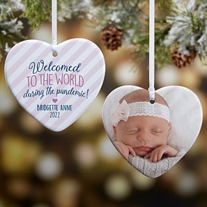 2021 Blue Baby Boy Frame for Babys First Christmas Ornament Can Be Personalized at Home