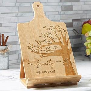 Support pour livre de cuisine et tablette Family Tree personnalisé en bambou - 30238