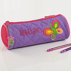 Personalized Pencil case Custom made brush holder. customized Brush holder Monogram Pencil Pouch Bright pink and navy small zipper bag