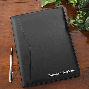 Executive Black Leather Personalized Portfolio