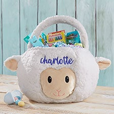 Lamb Embroidered Plush Easter Basket - 22545