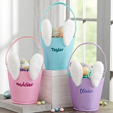 Personalized Bunny Easter Baskets - Easter Buckets - 22573