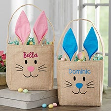 Bunny Face Personalized Burlap Easter Treat Bags - 22576