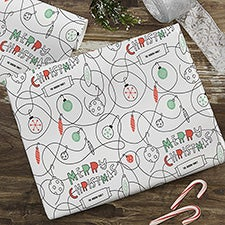Merry Christmas Reindeer Personalized Wrapping Paper - 22598